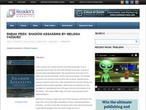 Shadow Assassins in Reader's Entertainment Magazine